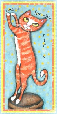 Reach For The Stars Cat Mixed Media at ArtistRising.com