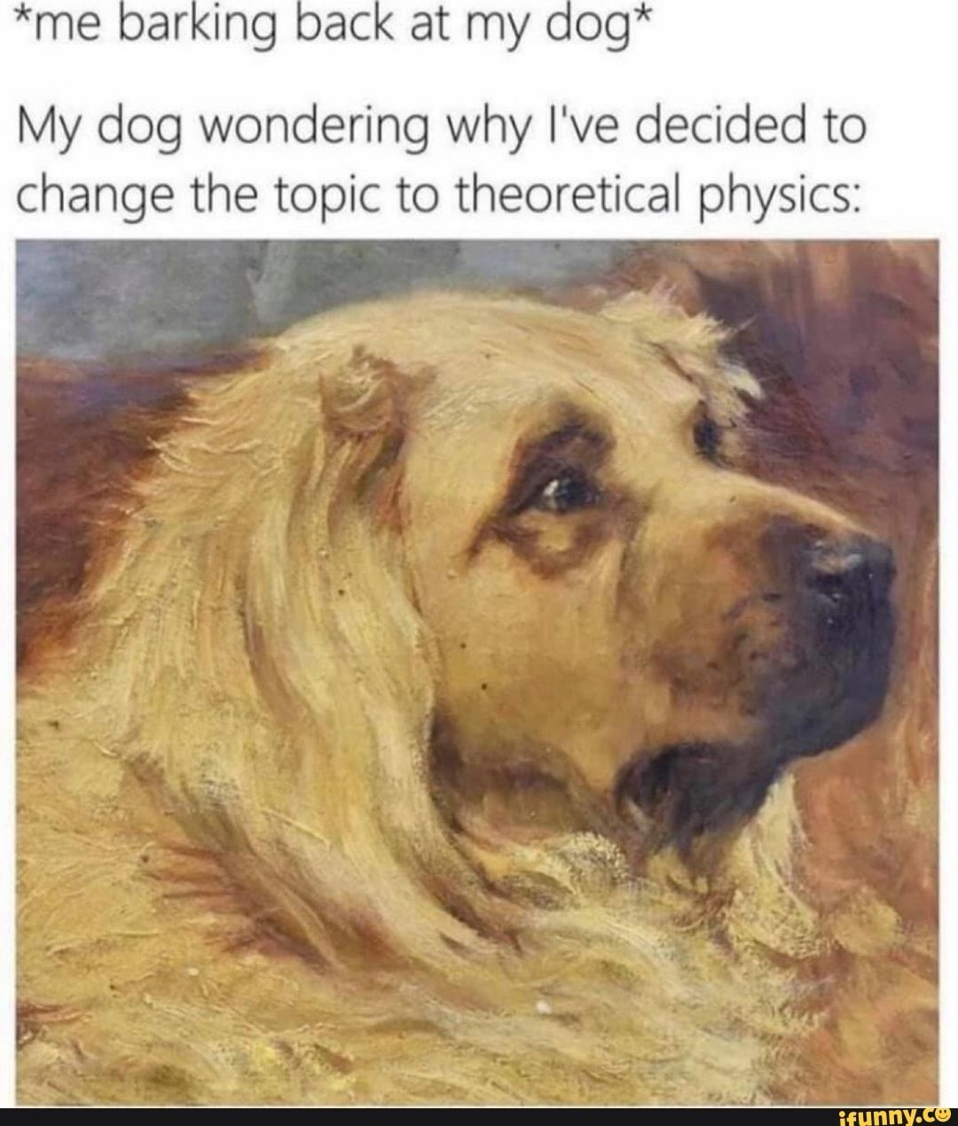 My Dog Wondering Why I Ve Decided To Change The Topic To Theoretical Physics Ifunny Classical Art Memes Dog Memes Dumb Memes