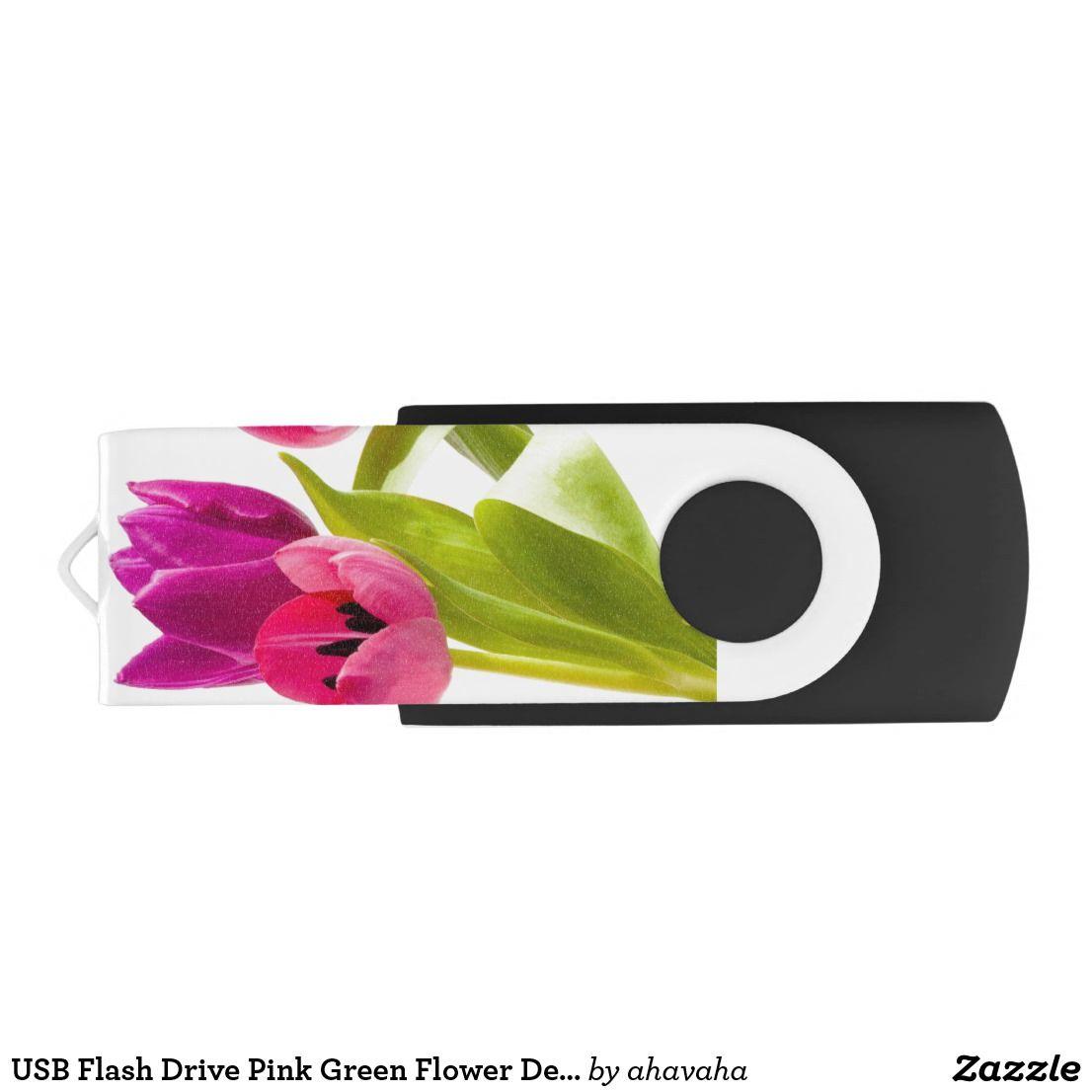 Usb Flash Drive Pink Green Flower Design Art Zazzle Com Green Flowers Design Art Flower Designs