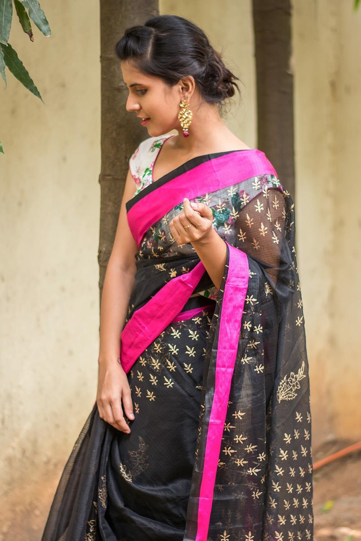 2a1b685f24cc11 Black silk kota saree with mica print and pink satin border  saree  blouse   houseofblouse  indian  bollywood  style  black  gold  pink mica  print