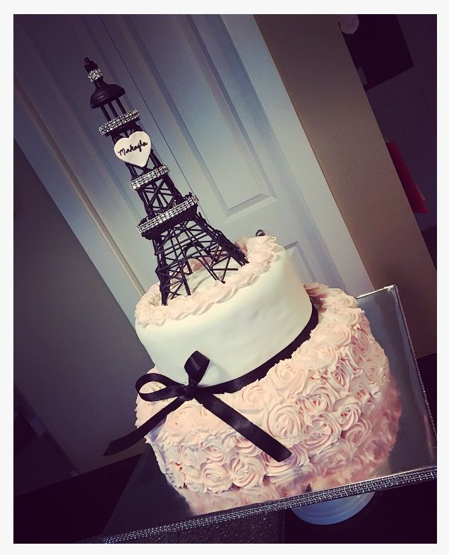 Pleasant Eiffel Tower Cake With Pink Rosettes With Images Paris Funny Birthday Cards Online Fluifree Goldxyz