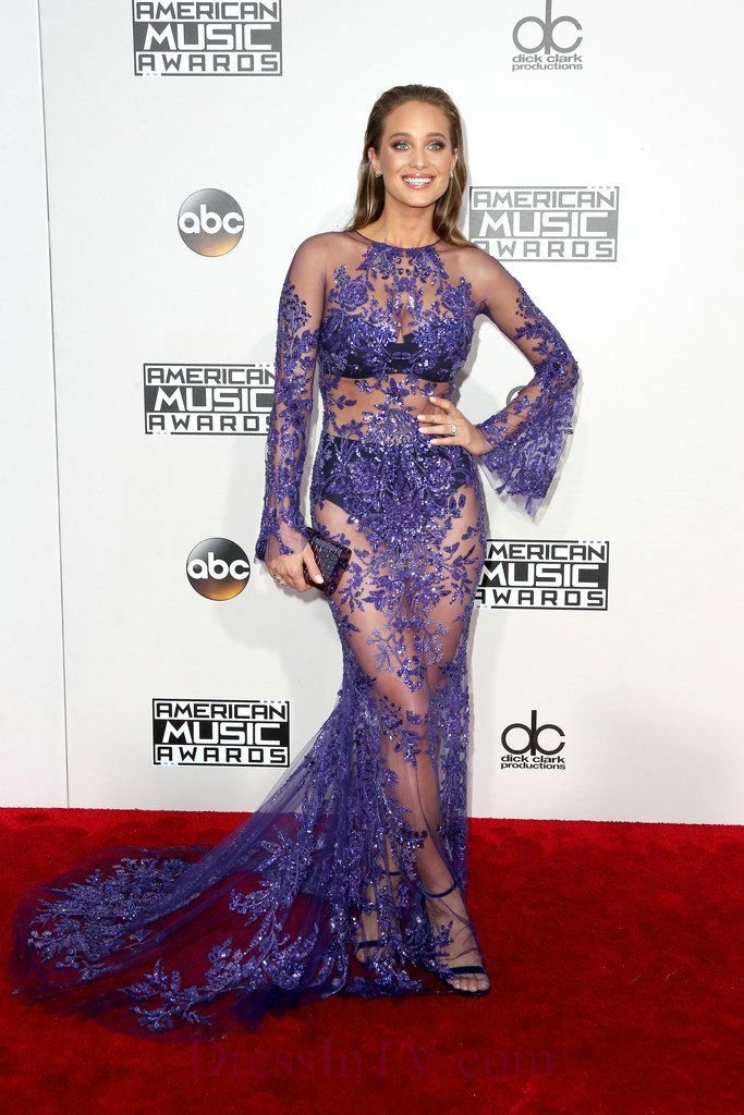 Lace Sequin Sheer Sleeves Hannah Davis See Through Gown,Lace Sequin Sheer Sleeves Hannah Davis See Through Gown