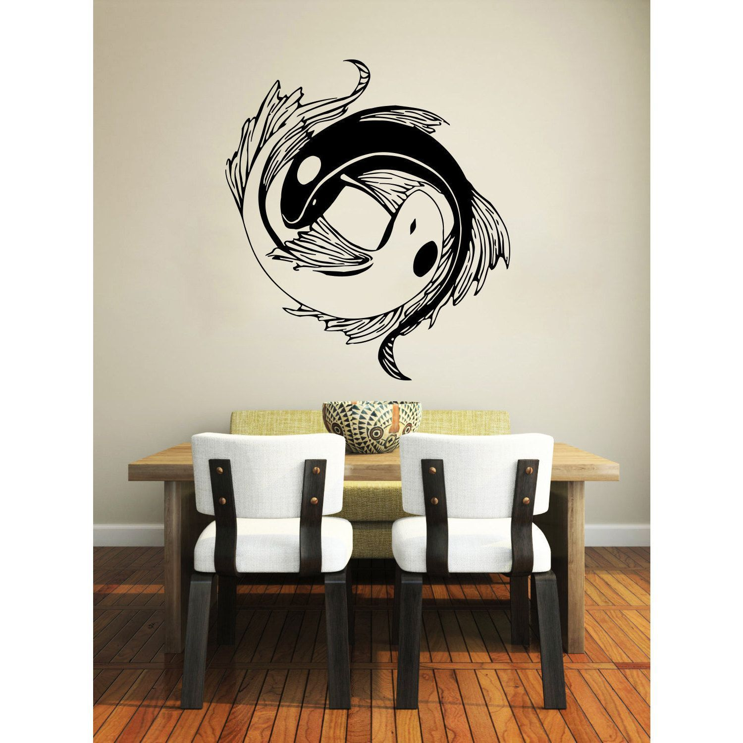 Sticker Wall Art yin yang koi fish black vinyl sticker wall art | yin yang, koi and