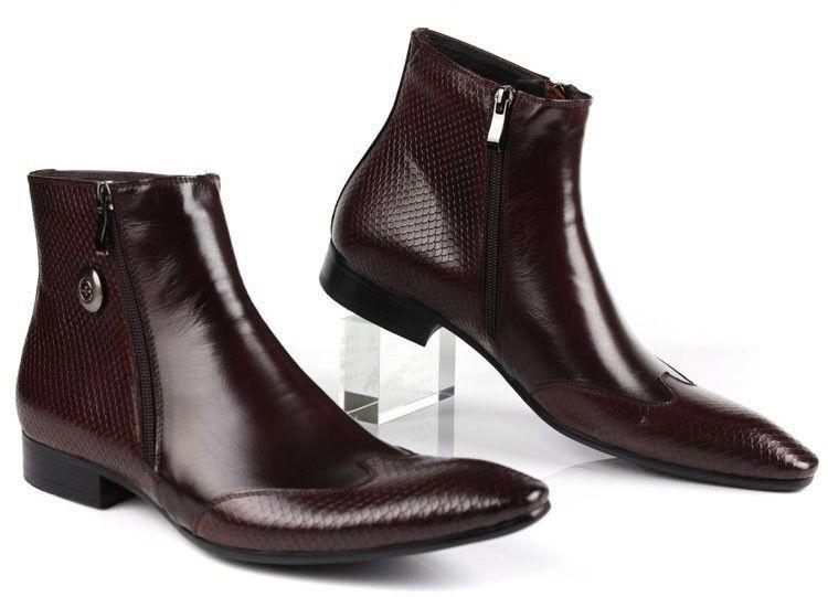 Italian Designer Mens Leather Boots Pointed Toe Zip Snake skin Black/Brown…