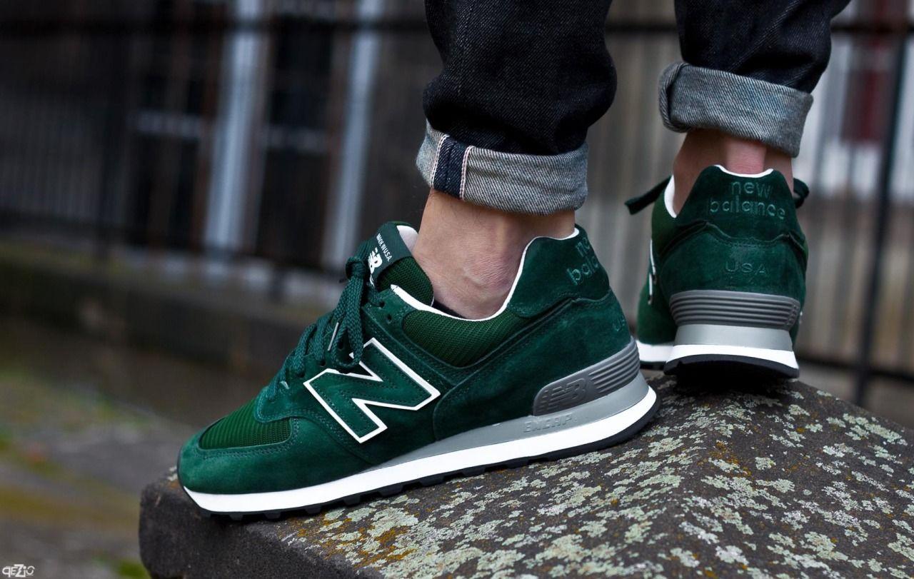 mens new balance trainers green