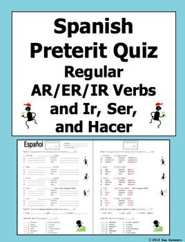 Spanish preterit verb conjugation quiz or worksheet by sue summers chart also verbs rh pinterest
