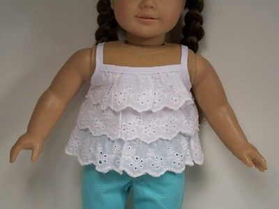 "For 18/"" American Girl Eyelet Lace Ruffle Pleated Tank Top Blouse DETAILED!"