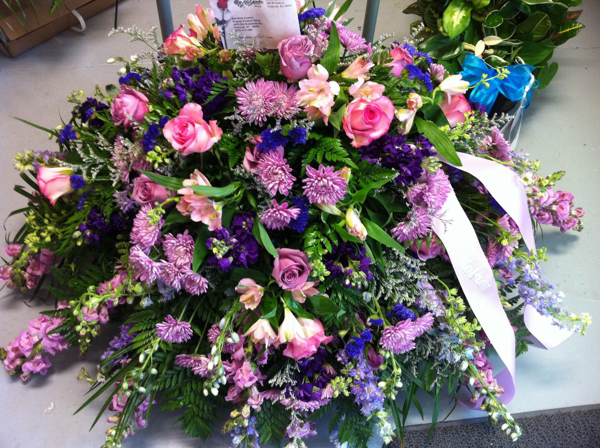 Rose Garden Florist   Paducah Kentucky Sympathy Arrangement Casket Spray  Memorial Flowers Funeral Flowers Lavender Purple Design Inspirations