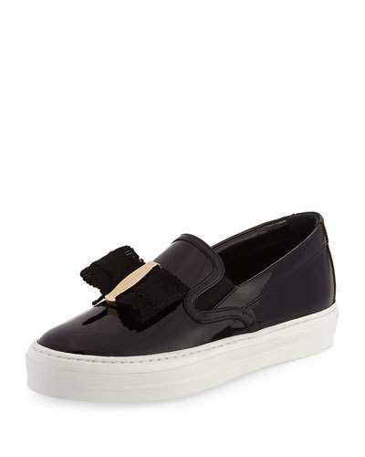 SALVATORE FERRAGAMO PACAU GROS BOW SLIP-ON SNEAKER, NERO. # salvatoreferragamo #shoes