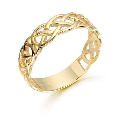 9ct Gold Celtic Wedding Band This 9k Gold Celtic Wedding Band In A Continuous Band Around The Fin Celtic Wedding Bands Claddagh Ring Wedding Gold Celtic Knot
