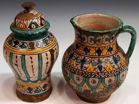 Moroccan Antique Spice Jar and Pitcher.