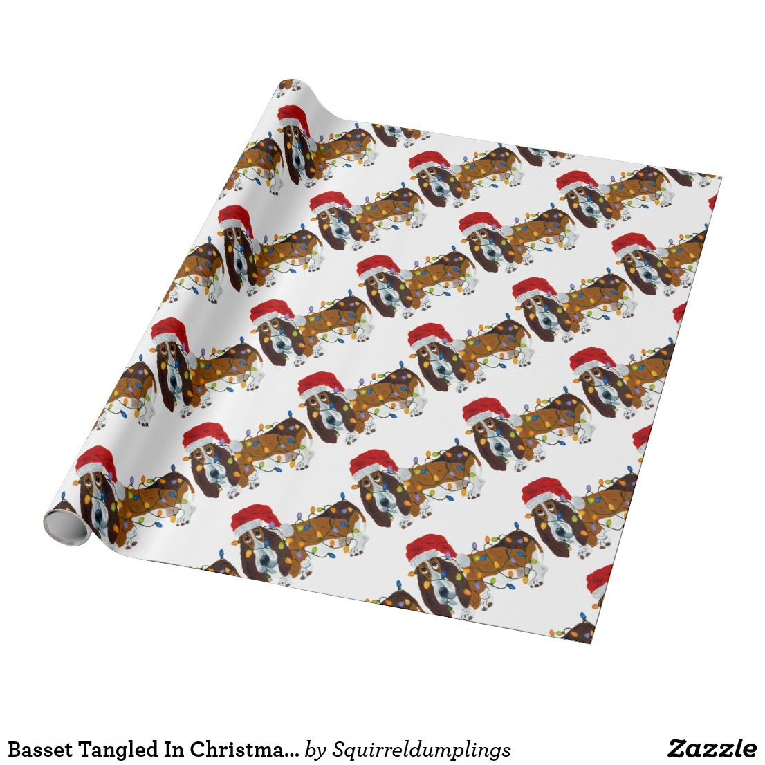 Basset Tangled In Christmas Lights Wrapping Paper |  Basset Tangled In Christmas Lights Wrapping Paper