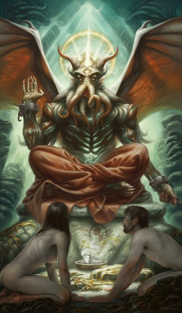 I finished the Devil card in a Cthulhu mythos tarot set (by Alix Branwyn) - Lovecraft