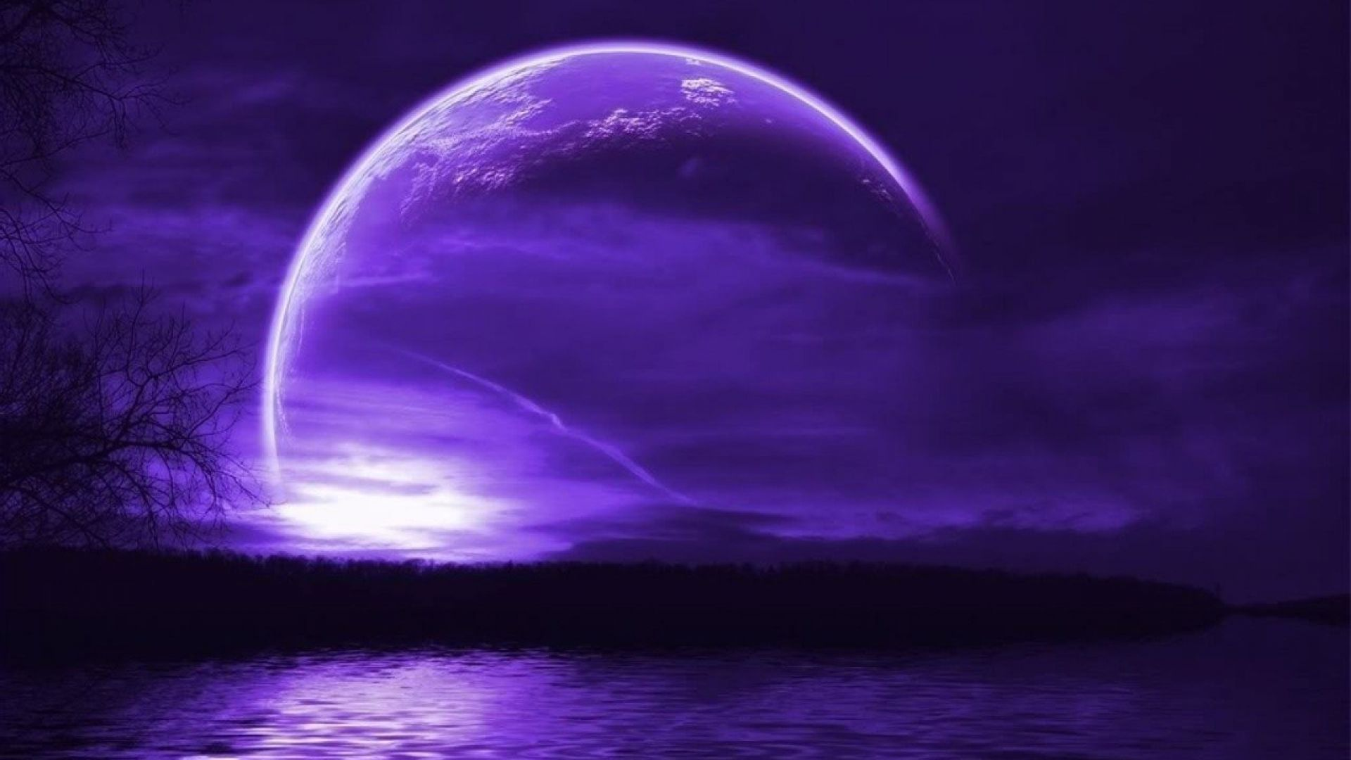 large purple moon background Purple sky, Purple