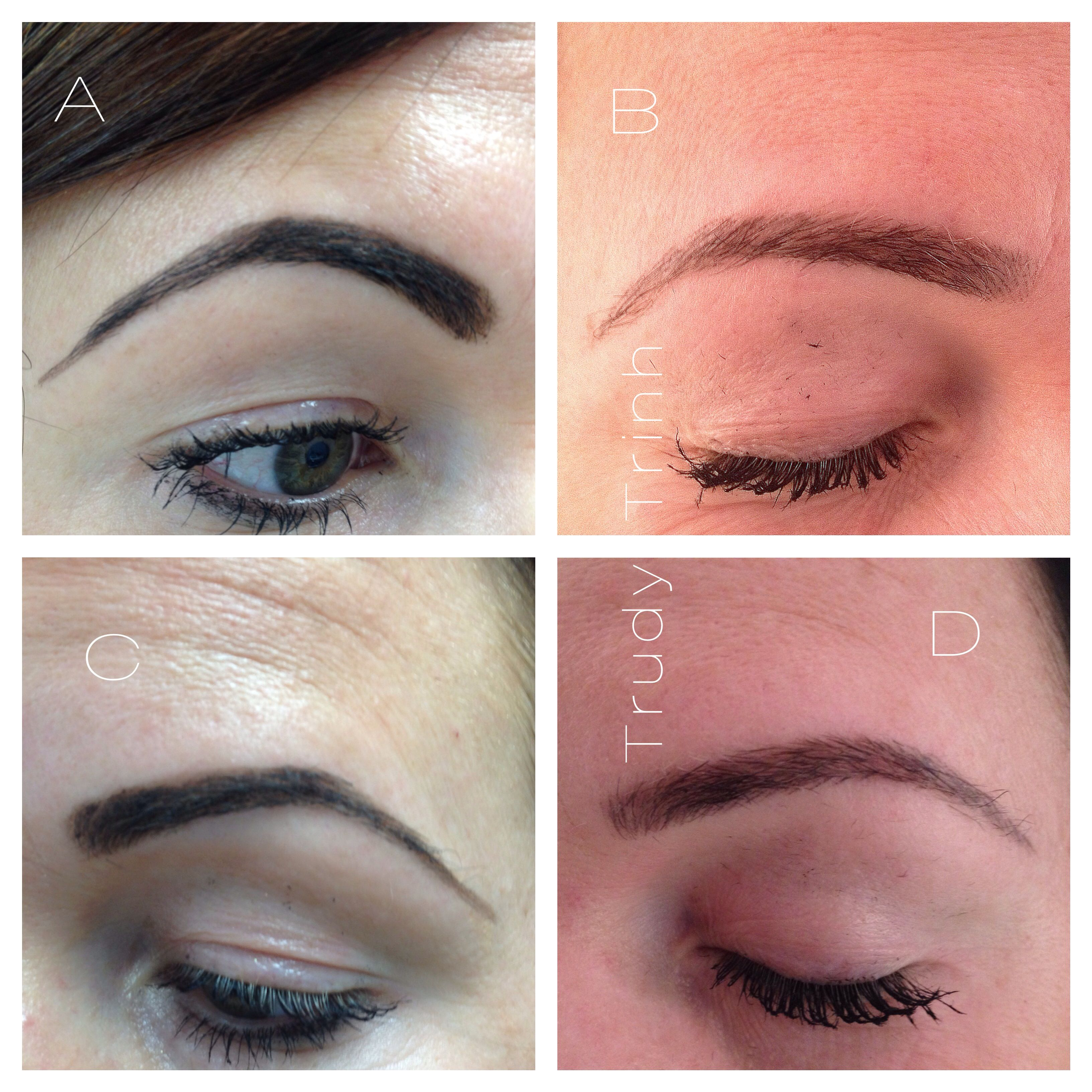 A and C are her brows before tattoo (how she drew her own brows). B ...