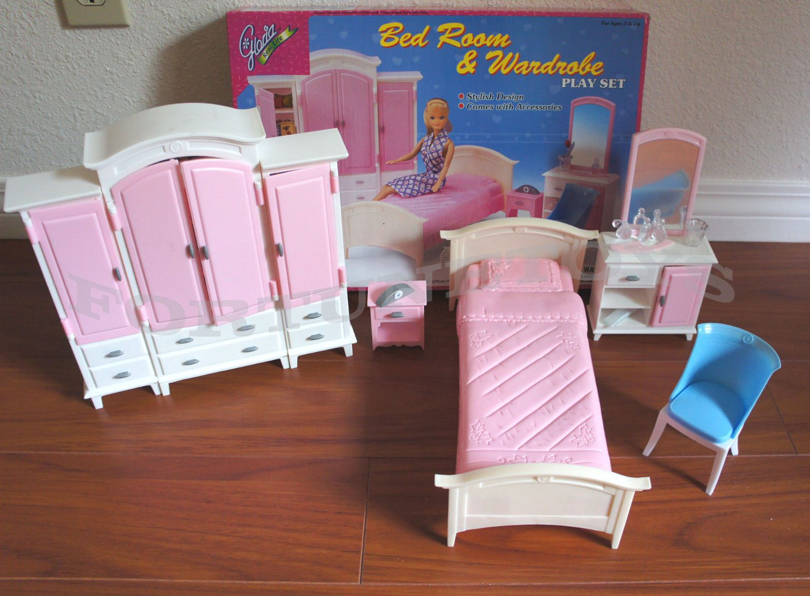 new gloria doll house furniture bedroom & wardrobe playset (24014