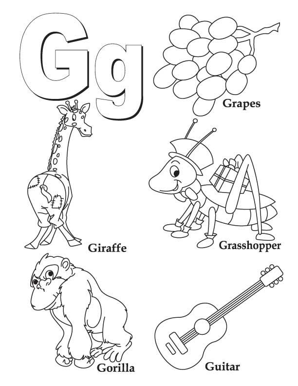 My a to z coloring book letter g coloring page preschool
