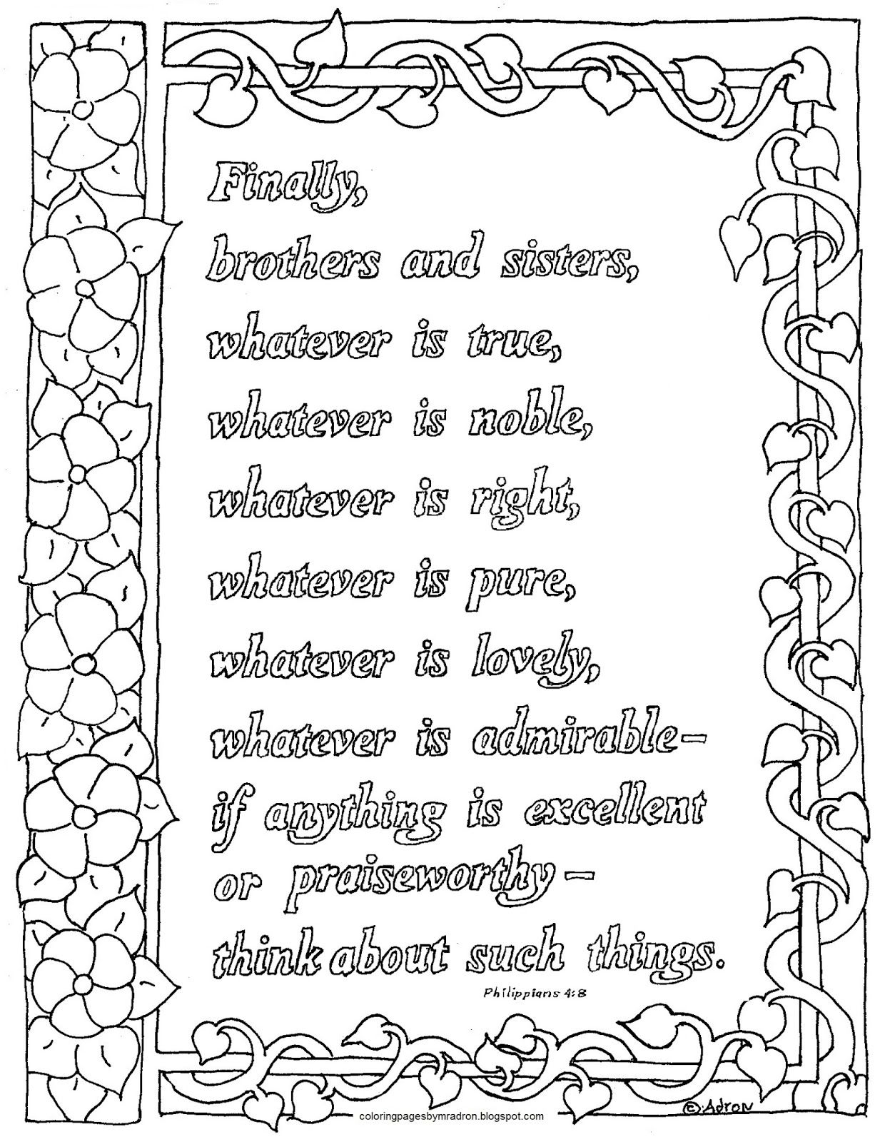 Philippians 4 8 Print And Color Page This Free Bible Verse Coloring Page Is Not Just For Kids