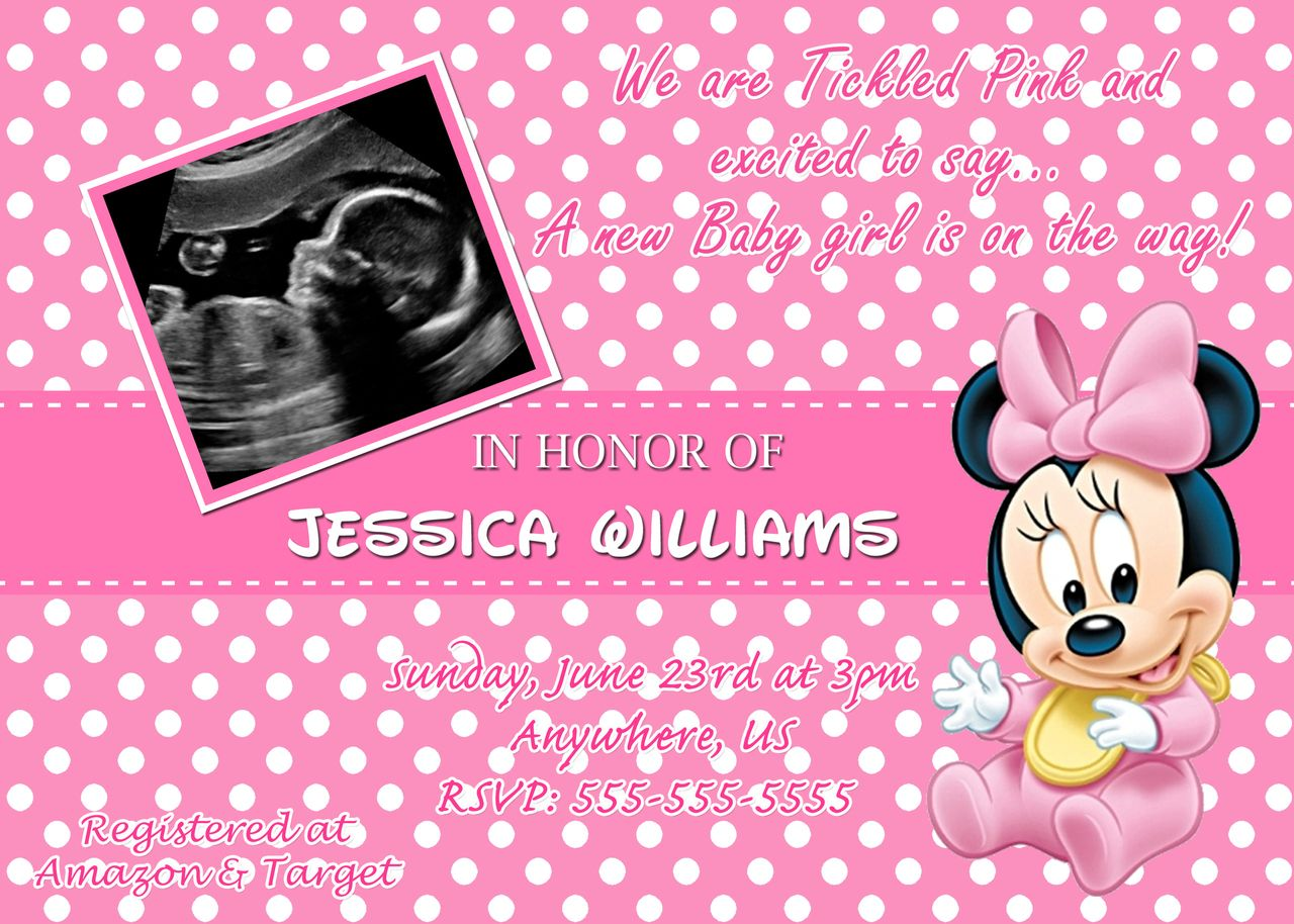 Baby Shower Invitations: Pink Background Polkadot Style Photo ...