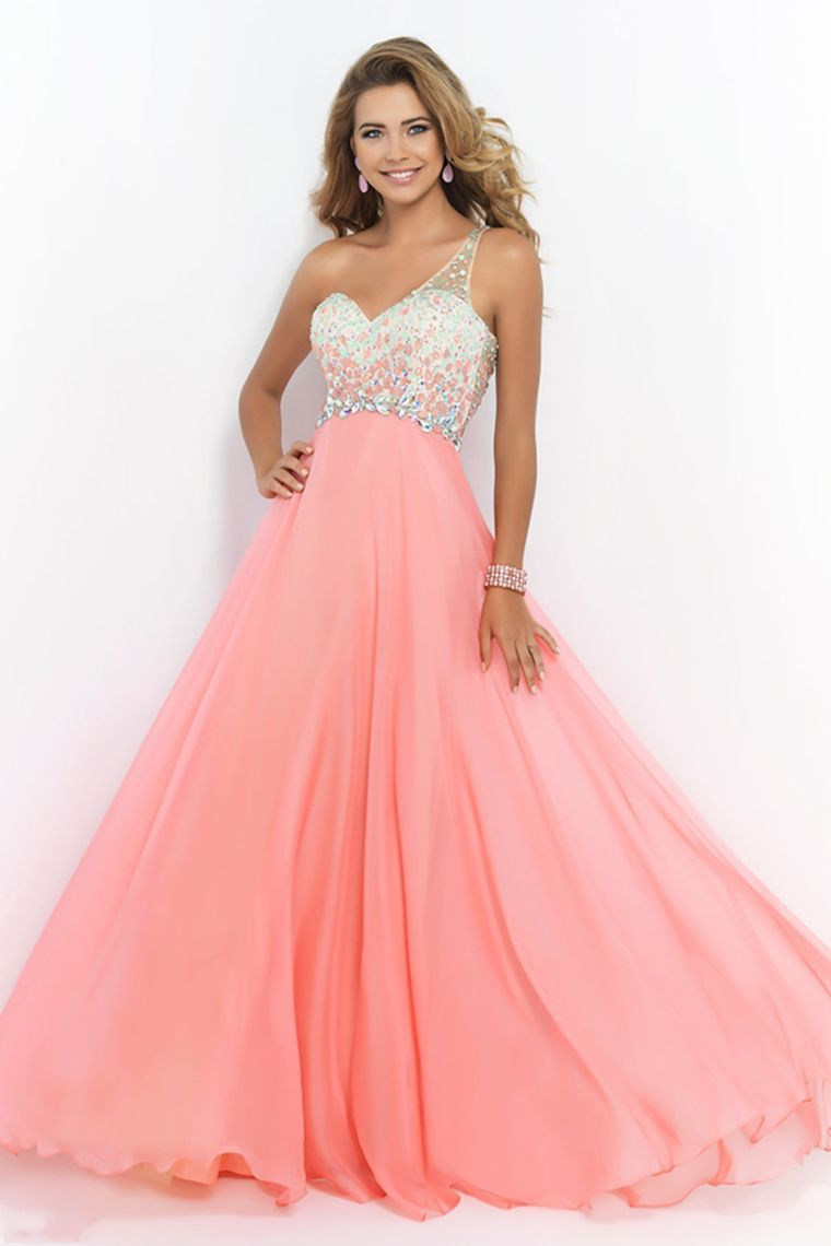 2015 Romantic Prom Dresses A Line One Shoulder With Beadings Tulle ...