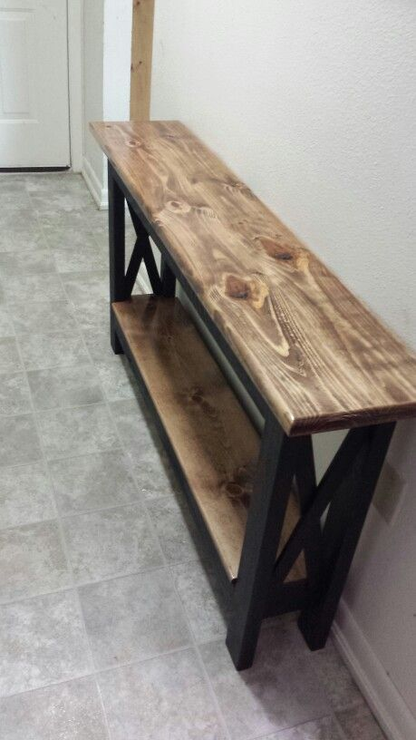 corner hall table. Rustic Table Redo For The Hallway. Corner Hall L