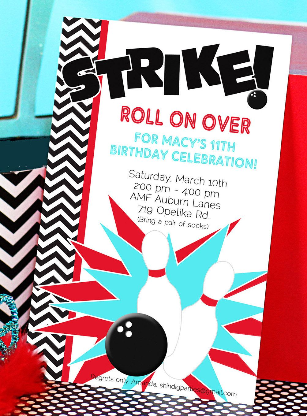 Too Cute Bowling Party Invitation