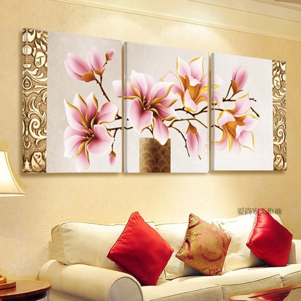 No Frame 3pcs Print Canvas Wall Art Orchids Decoration Art Oil ...