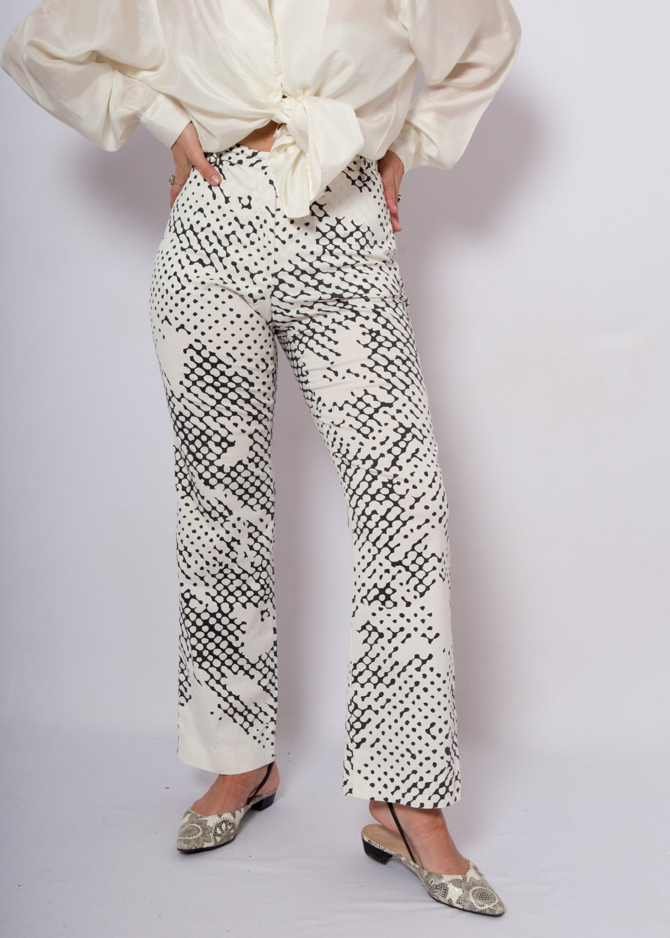 RESREVED for Sharla Rare JIL SANDER Snake Print Pants Abstract Trousers Bell Bottoms Made in Germany Medium Size W 27 L 31
