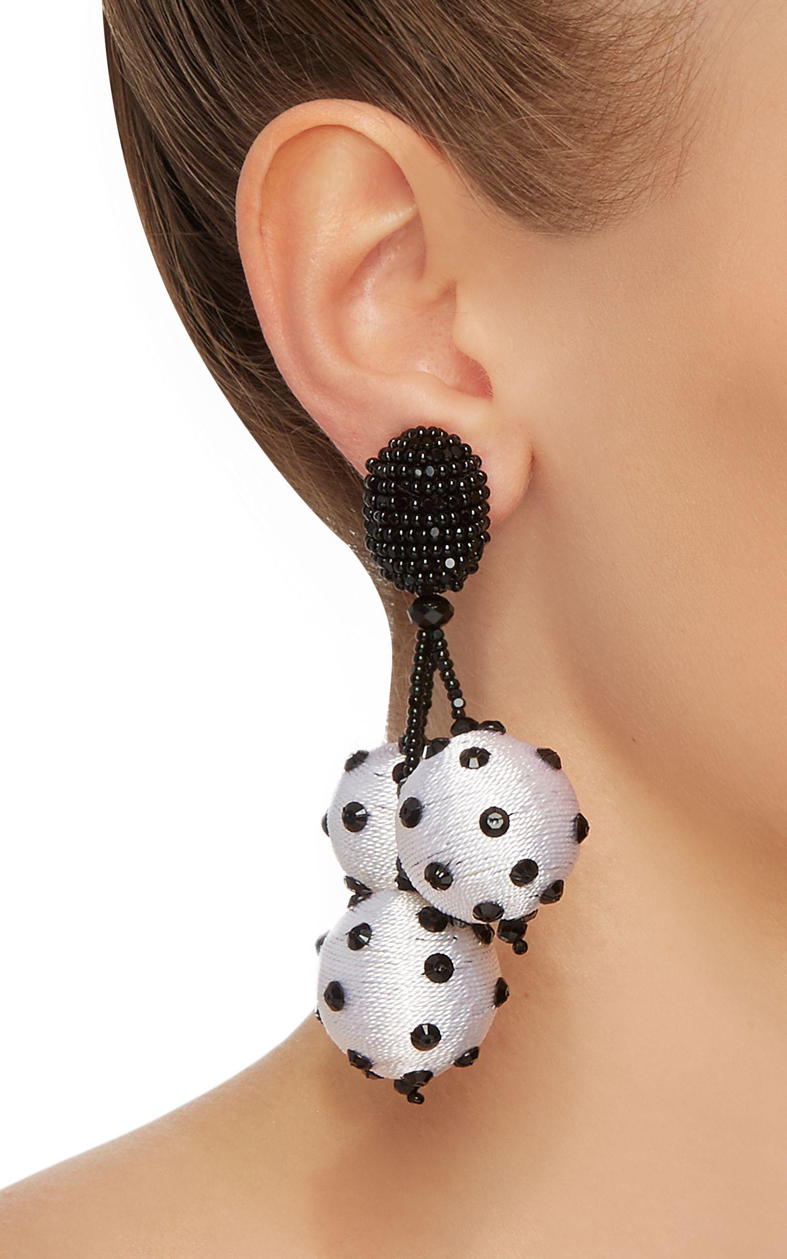 oscar de la renta triple ball polka dot earrings | unusual
