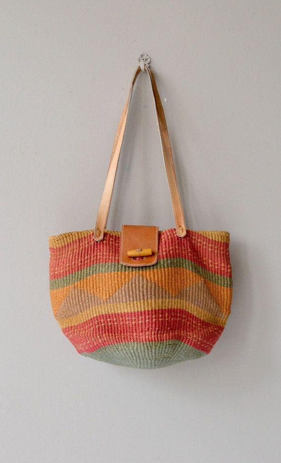 900603503 Oaxaca sisal bag vintage woven straw tote natural by DearGolden Bolsas De  Tricô, Tricô E