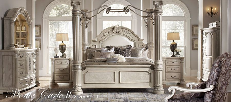 Great column Bed with a sheer white canopy gathered and overlay ...