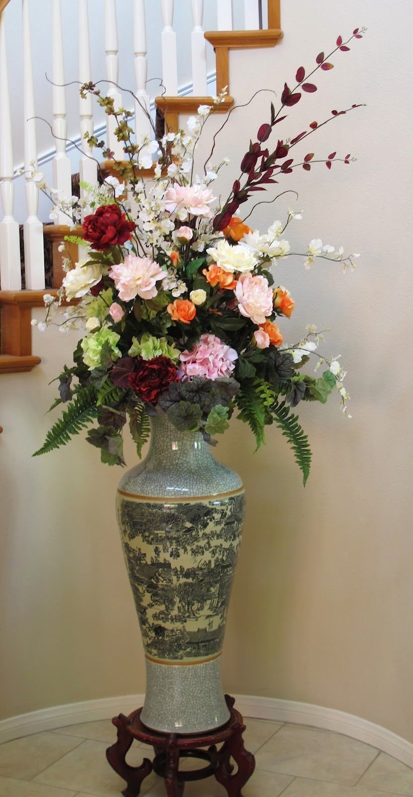 Artificial Flower Arrangements Tall Silk Arrangement Of Peonies Roses Hydrangeas White Oncidiums