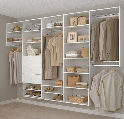 Simple Single Wall Closet With Lots Of Storage Options Wall Closet Wood Closet Organizers Wall Closet System