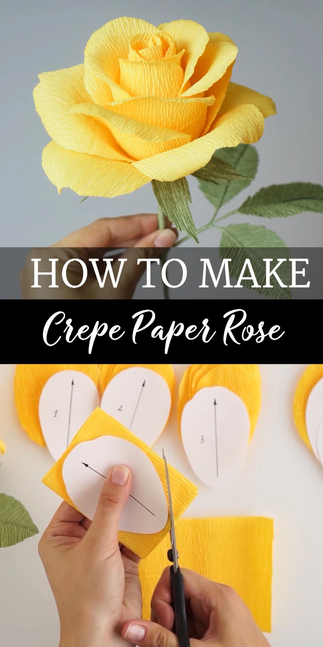 Crepe Paper Rose Video Tutorial & PDF Templates, Crepe Paper Flower Tutorial, 3D Paper Rose Printable, Crepe Paper Rose with stem and leaves
