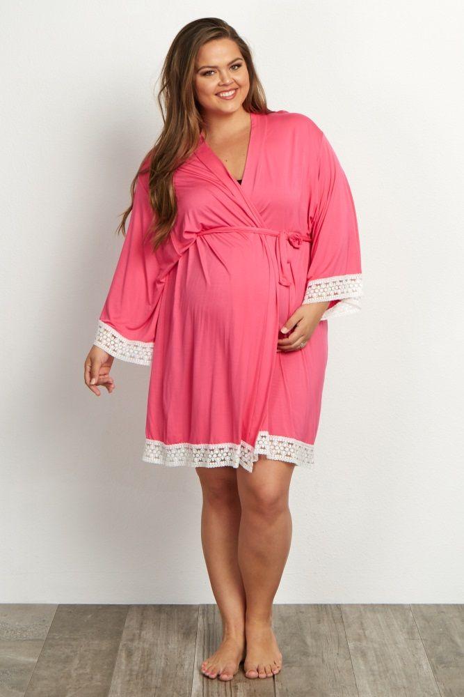 3a6911f6ecc Fuchsia Lace Trim Plus Delivery Nursing Maternity Robe
