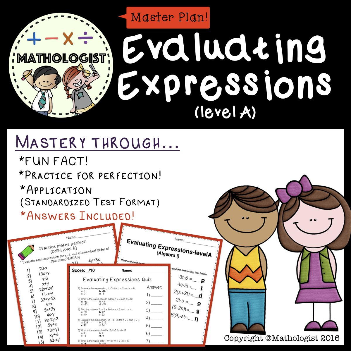 Order Of Operations Evaluating Expressions Level A
