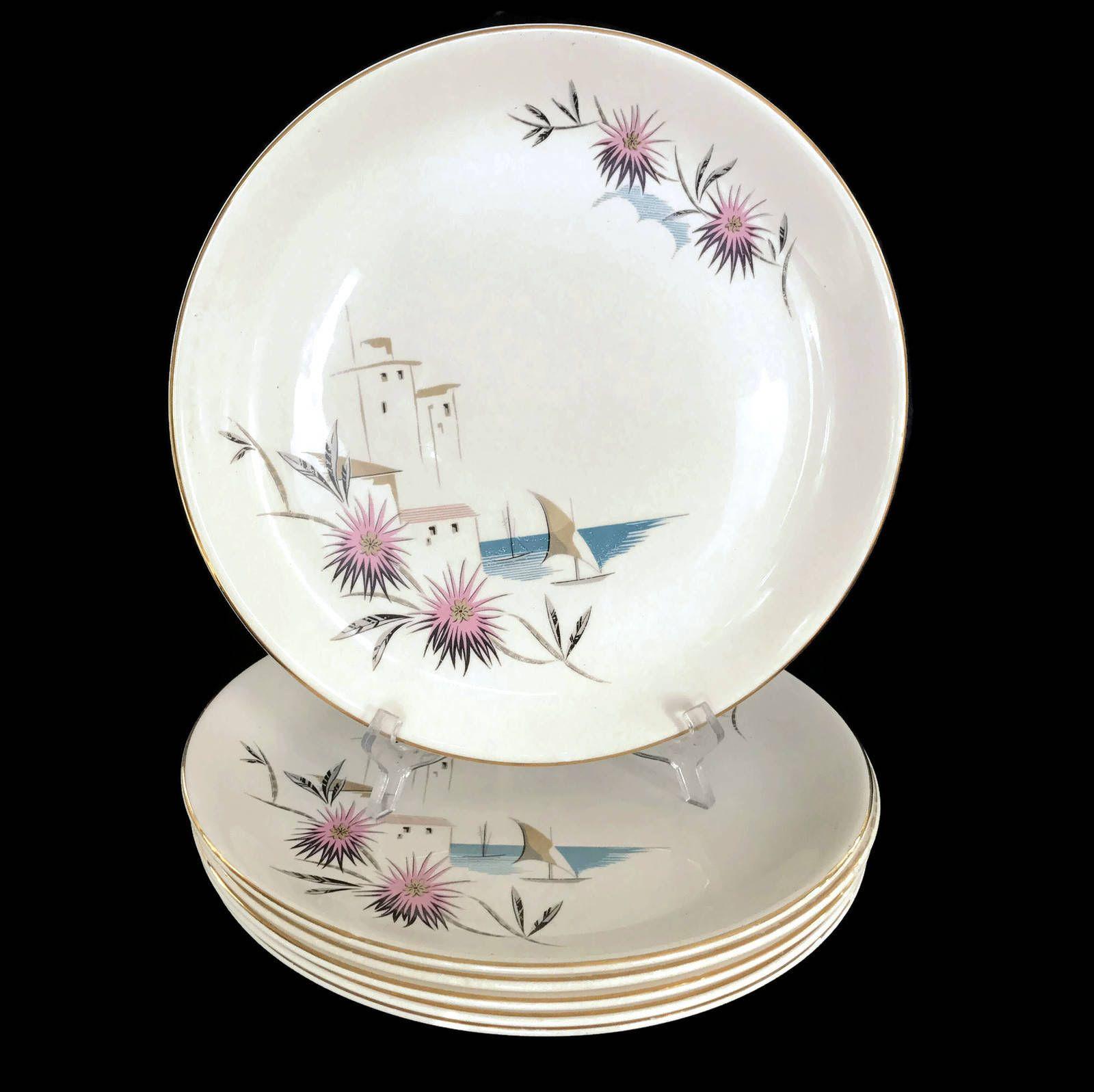 1950s Swinnertons Nestor Vellum Dinner Plates Mid Century Dinnerware Staffordshire Made in England Retro Plates Sailboat  sc 1 st  Pinterest & 1950s Swinnertons Nestor Vellum Dinner Plates Mid Century ...