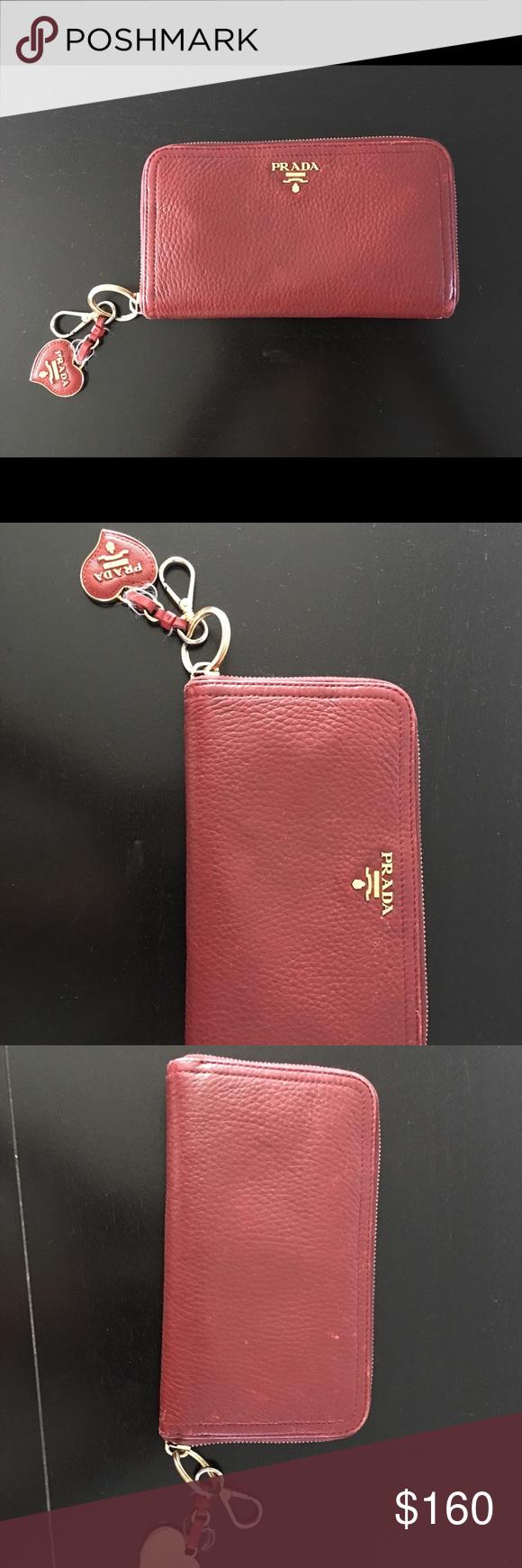 f67020525dd3 Prada Saffiano Metal Oro Wallet Keychain Fuoco Red Selling these Prada  wallet with a matching Prada