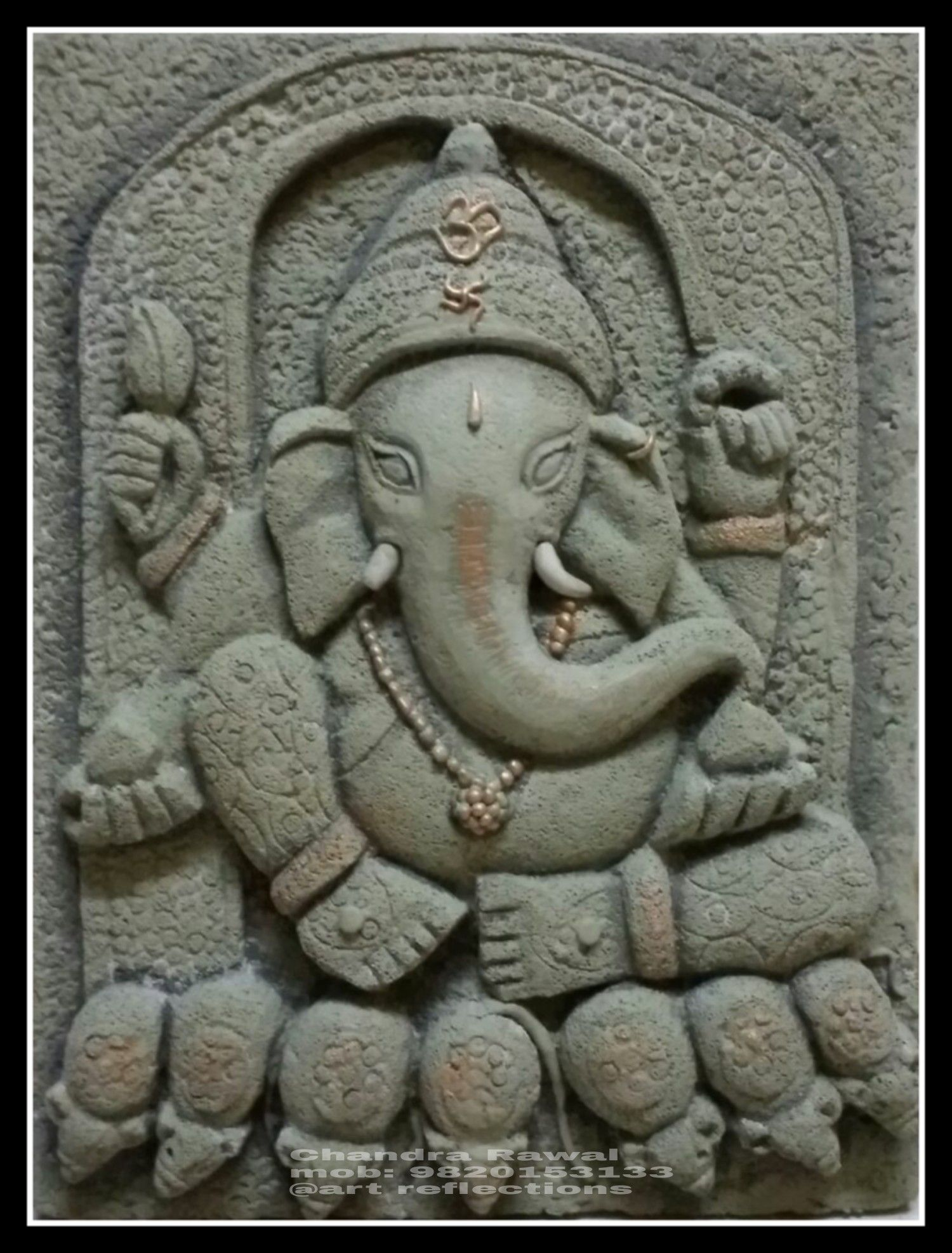 Hand carved siporex 3d mural siporex 3d murals for Mural art of ganesha