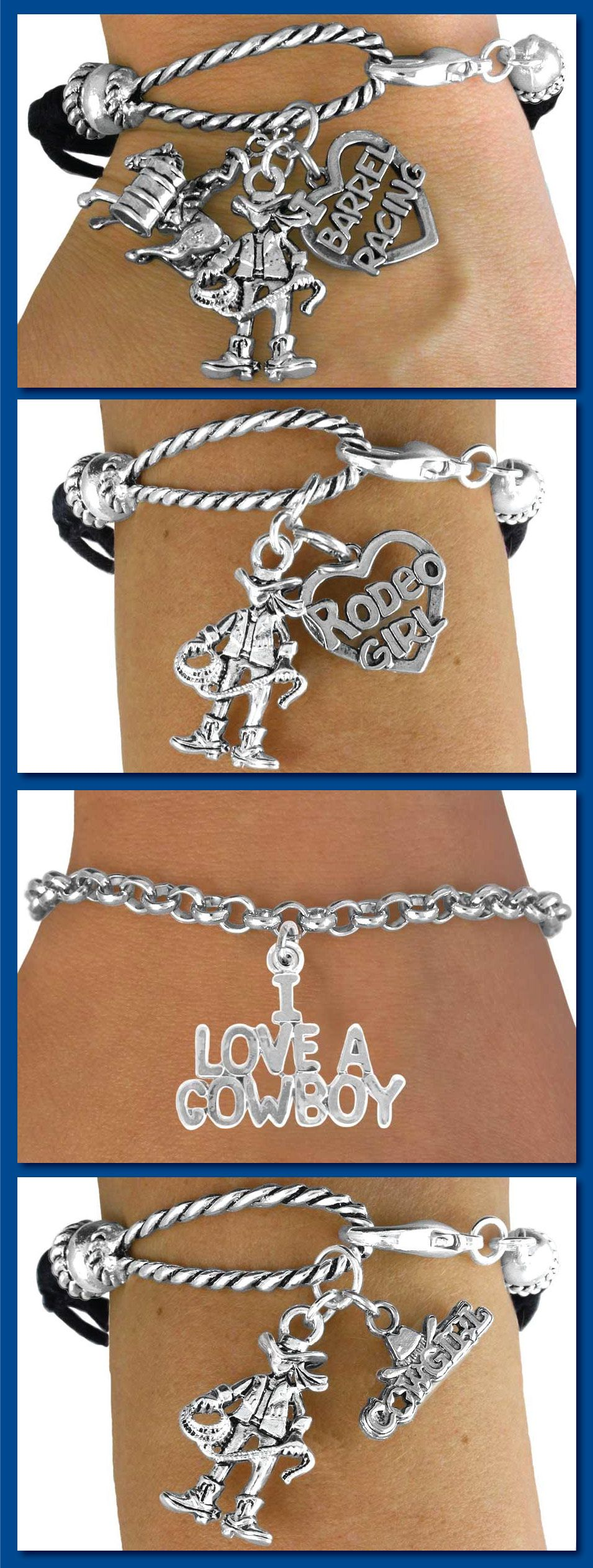 Rodeo Girl Bracelet  Silver And Faux Leather Rope Bracelet