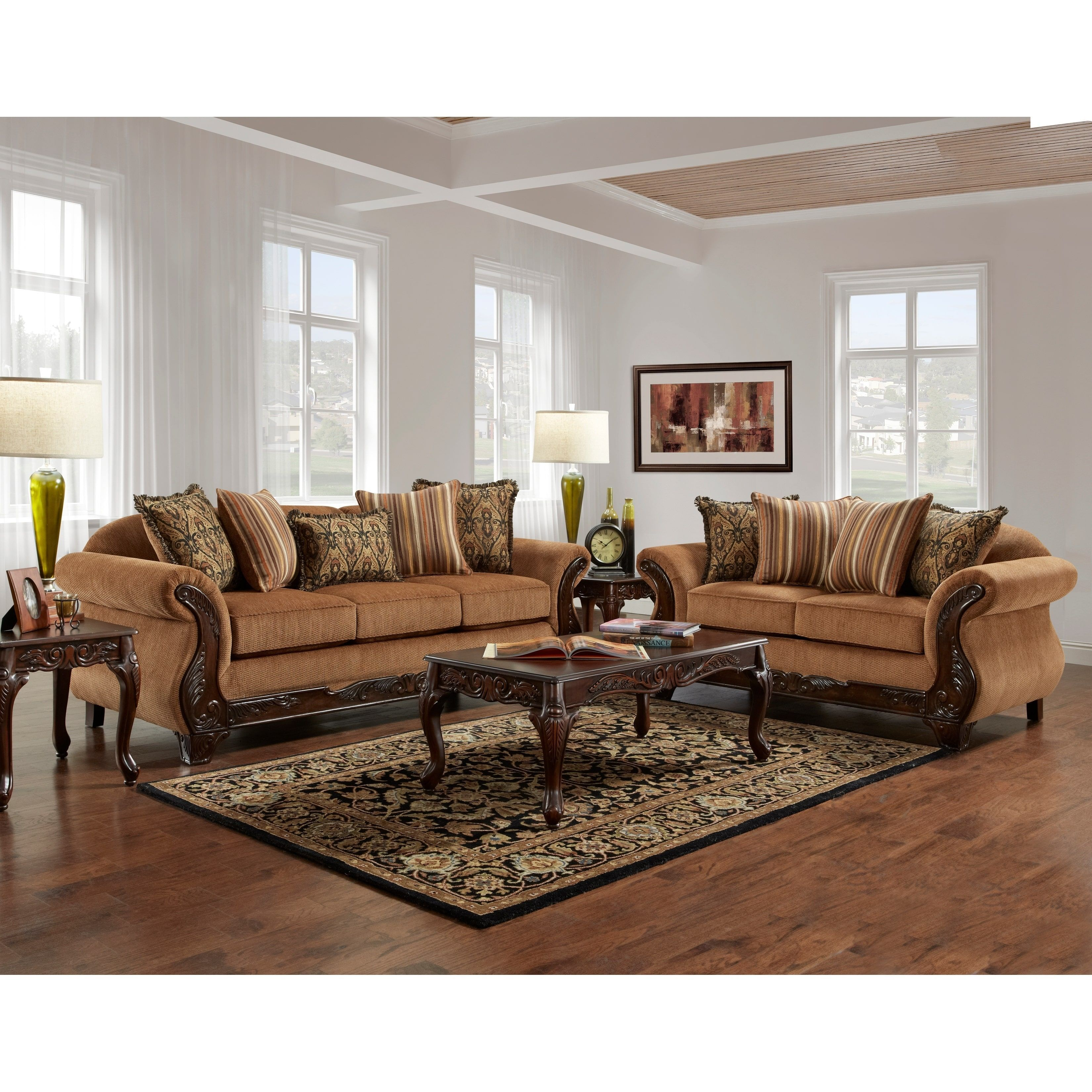 Sofa Trendz Barnes 2pc Sofa And Loveseat Brown Chenille