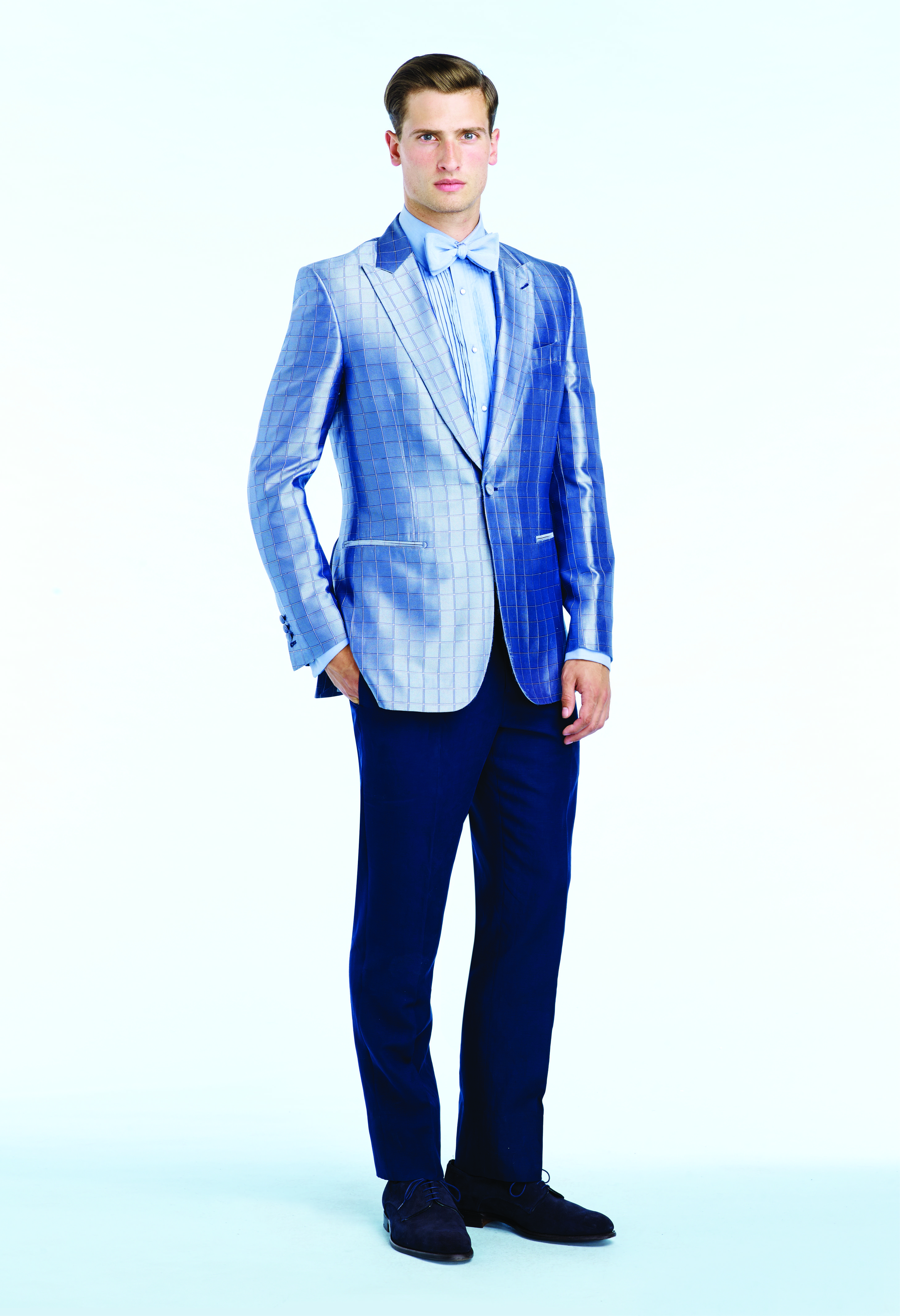 4672f815b8 Ocean blue silk checked jacquard dinner jacket, Light blue pleated cotton  dress shirt, Navy