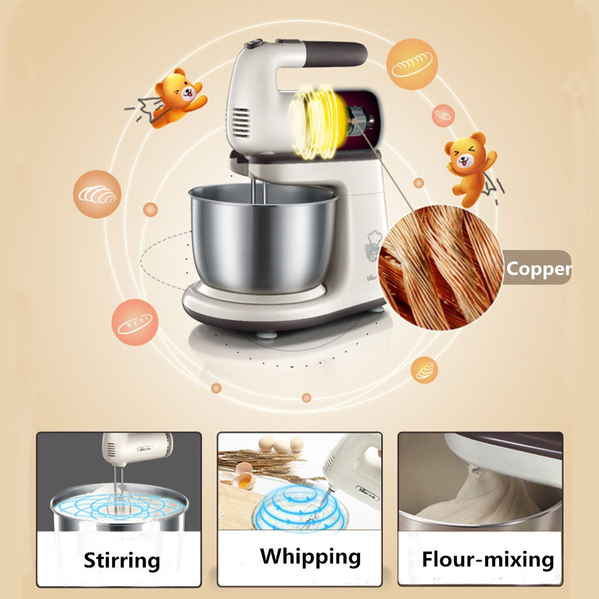 5 speed electric stand mixer dough blender stainless steel