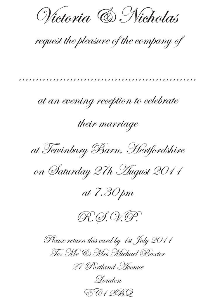 Wedding Reception Only Invitations Wording Wedding Images - formal invitation template free