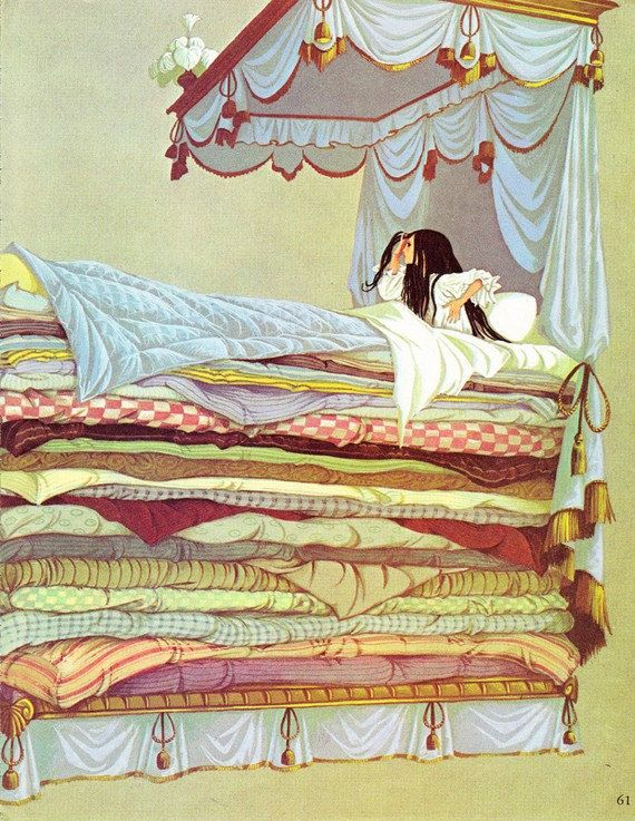 The Princess And The Pea The White Cat Vintage Illustration
