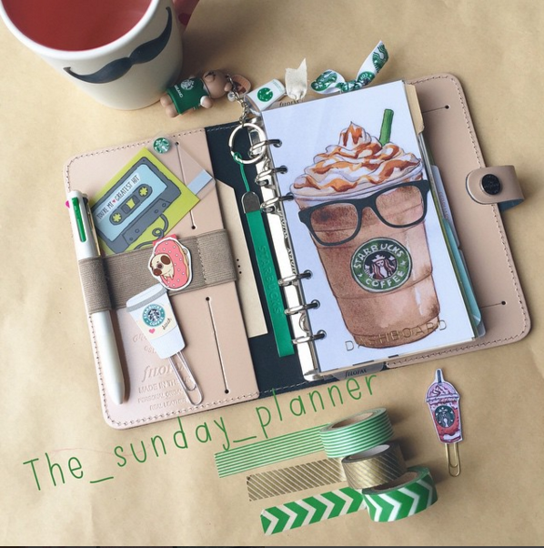Another view of Starbucks dashboard/layout in Filofax personal nude.  One of my faves <3