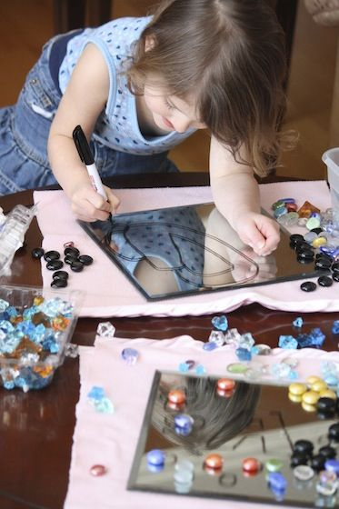 Art with Mirrors and Dry Erase Markers | Super Sensory