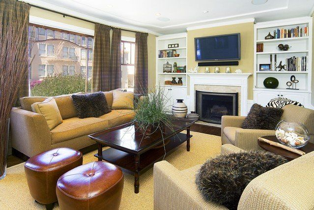 furniture arrangement small living room with fireplace - Google