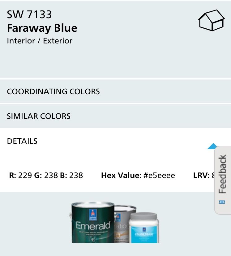 Sw Faraway Blue The Best Looking Pale Sky Sherwin Williams Paint Colors Paint Your House Paint Colors