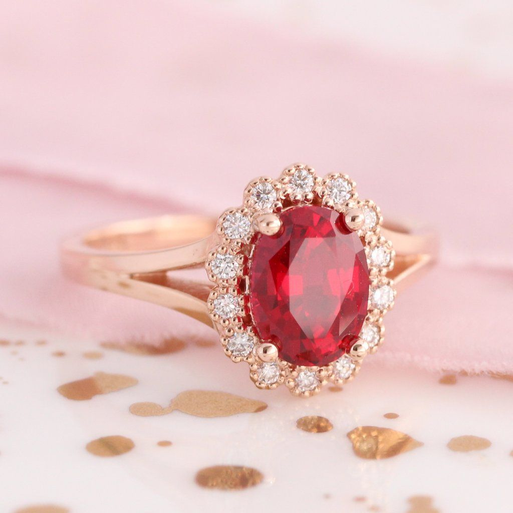 Oval Ruby Engagement Ring in Rose Gold Vintage Halo Diamond Band ...